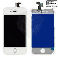 Дисплейный модуль (дисплей + сенсор) для iPhone 4, с рамкой, белый, оригинал