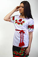 Эксклюзивная вышитая блуза на короткий рукав