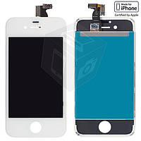 Дисплейный модуль (дисплей + сенсор) для iPhone 4S, с рамкой, белый, оригинал