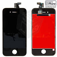 Дисплейный модуль (дисплей + сенсор) для iPhone 4S, с рамкой, черный, оригинал