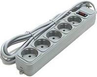 Удлинитель сетевой фильтер 5 гнезд 1,8м с заземлением + выключатель СВЕТОПРОБОР