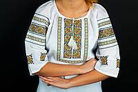 Блуза с вышивкой на домотканом полотне Американка