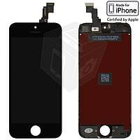 Дисплейный модуль (дисплей + сенсор) для iPhone 5C, с рамкой, черный, оригинал
