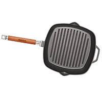 Сковорода-гриль Биол чугунная квадратная 260 мм с крышкой стеклянной. CHZ