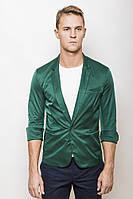 Пиджак мужской с коротким рукавом 2437/1 стильный приталенный темно-зеленый (пиджаки молодежные)