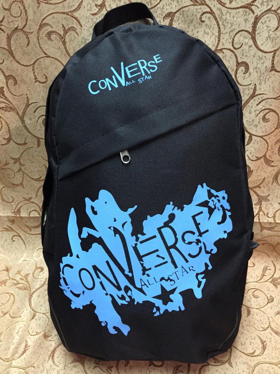 Рюкзак Converse (Конверс), чёрный с голубым ( код: IBR020BL )