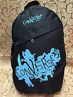 Рюкзак Converse (Конверс), чёрный с голубым ( код: IBR020BL ), фото 1