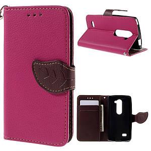 Чехол книжка для LG Leon H324 Y50 боковой с отсеком для визиток, Листик, Розовый