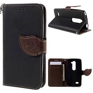 Чехол книжка для LG Leon H324 Y50 боковой с отсеком для визиток, Листик, черный