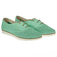 Оригинальные туфли на шнурках от Favi (модные, изящные, бирюзового цвета, со сквозной перфорацией)
