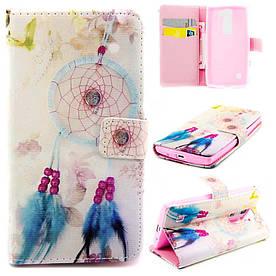 Чехол книжка для LG Leon H324 Y50 боковой с отсеком для визиток, Ловец снов и цветы