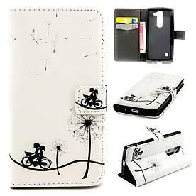 Чехол книжка для LG Leon H324 Y50 боковой с отсеком для визиток, Дети на велосипеде