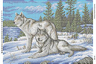 """Схема для полной зашивки бисером """"Волки на снегу"""""""
