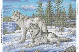 """Схема для повної зашиття бісером """"Вовки на снігу"""""""