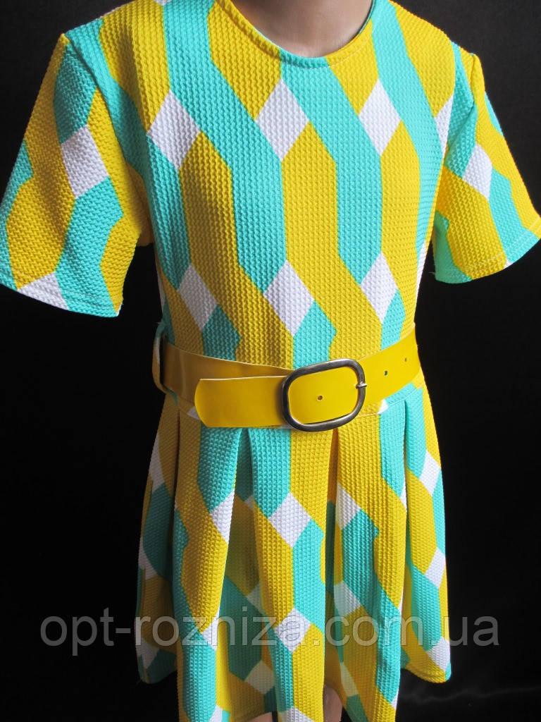 Детское летнее платье с широким поясом.