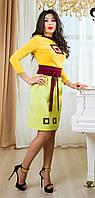 Оригинальное Платье Миди с Орнаментом Желто-Зеленое XS-S