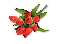 Букет тюльпанов - Красный с желтым, 10x20 мм, 5 шт