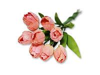 Букет тюльпанов - Розовый с кремовым, 10x20 мм, 5 шт