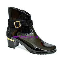 Стильные женские зимние ботинки, натуральная черная лаковая кожа и замша., фото 1