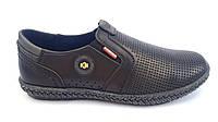 Мужские кожаные летние туфли Kristan black рез, фото 1