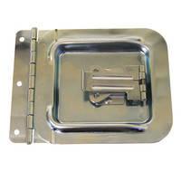 """Люк D0047z кабельный 156x115мм с замком """"бабочка"""" и петлей. Доступ к кабельному отверстию 92x87мм. Сталь оцинкованная. Зацеп язычка замка L0747/Cpz"""