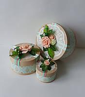 Круглая подарочная коробка ручной работы с красивой нежной розой