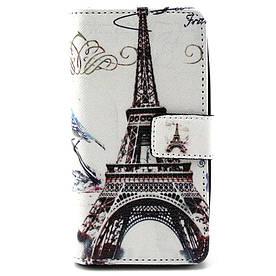 Чехол книжка для LG Leon H324 Y50 боковой с отсеком для визиток, Эйфелева башня