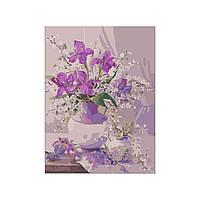 Картина раскраска по номерам без коробки Ирисы в вазе (BK-H076) 40 х 50 см