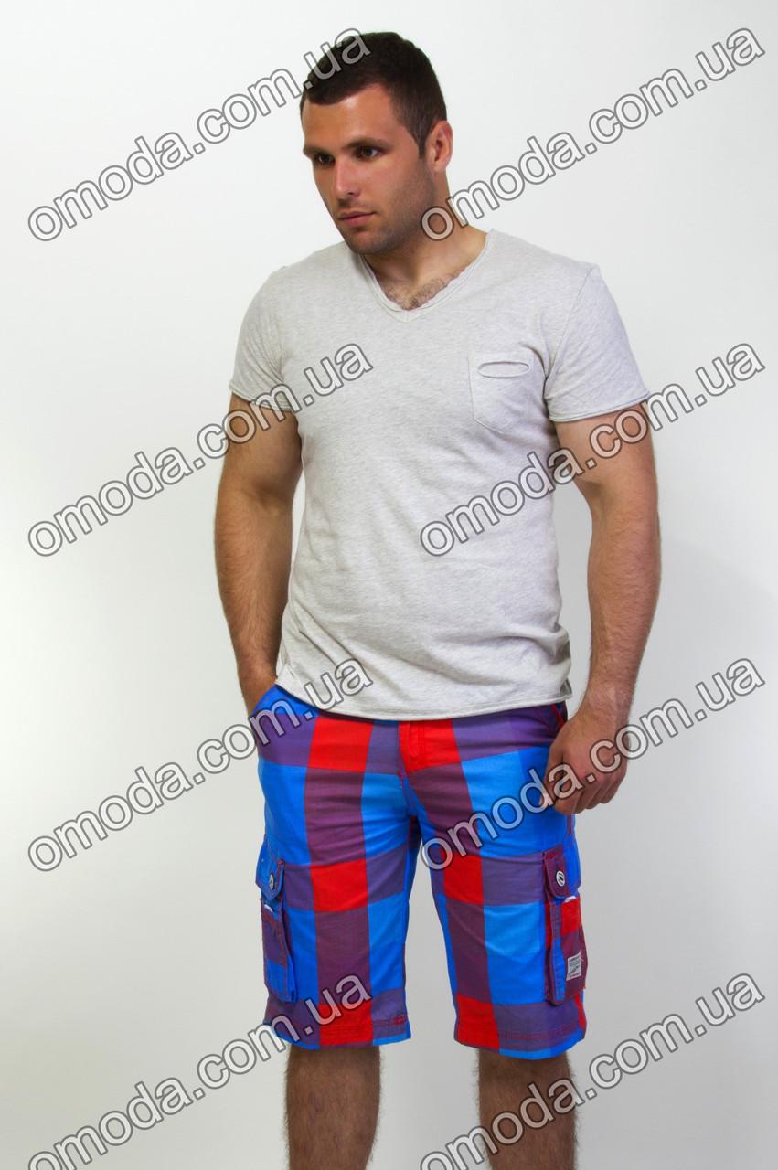 Мужские шорты в клетку синие с красным