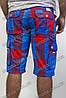 Мужские шорты в клетку синие с красным, фото 3