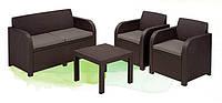 Пластиковая мебель для сада Georgia, 2 кресла, диван, журнальный столик, мягкие сиденья