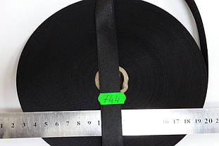 Лента атласная двухсторонняя 20мм, цвет черный, Турция