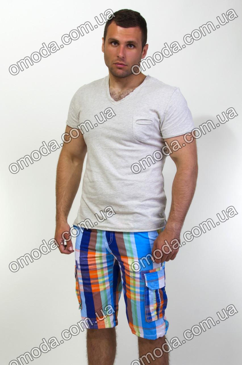 Мужские шорты в клетку голубые с оранжевым