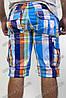 Мужские шорты в клетку голубые с оранжевым, фото 3