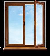Окно деревянное евробрус дуб /3ламели/ (размером - 1.3*1.4м) с 2кам стеклопакетом