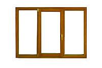 Окно деревянное евробрус дуб /3ламели/ (размером - 2,1*1.4м) с 2кам стеклопакетом