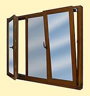 Окно деревянное евробрус дуб /3 ламели/ (размером - 2,1*1.4м) с 2кам стеклопакетом