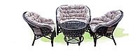 Стильная мебель из ротанга для улицы «Азалия»: красота и комфорт, тёмная лоза, уютные сиреневые подушки