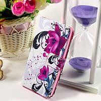 Чехол книжка для LG Leon H324 Y50 боковой с отсеком для визиток и отверстием под динамик, Цветок лотоса