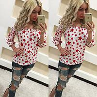 Блуза женская с открытыми плечами Звезды - Белый с красным