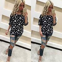 Блуза женская с открытыми плечами Звезды - Черный с белым