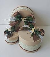 Круглая подарочная коробка ручной работы с ласточками