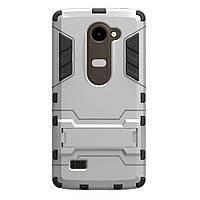 Чехол накладка для LG Leon H324 Y50 противоударный силиконовый с пластиком Alien, с подставкой, Серебристый