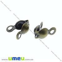 Каллоты, 7х3,5 мм, Античная бронза, 20 шт (ZAG-015531)