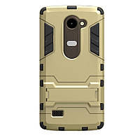 Чехол накладка для LG Leon H324 Y50 противоударный силиконовый с пластиком Alien, с подставкой, Золотистый
