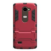 Чехол накладка для LG Leon H324 Y50 противоударный силиконовый с пластиком Alien, с подставкой, Красный