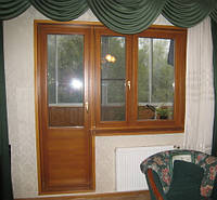 Балконный блок деревянный, евробрус дуб /3 ламели/(размером - 2,1*0,7+1,3*1,4м) с 2кам стпакетом