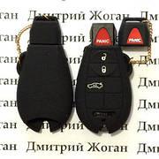 Чехол (черный, силиконовый) для смарт ключа Chrysler (Крайслер) 3 кнопки + 1