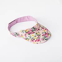 Козырек с цветочным принтом нежно розово цвета, фото 1