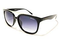 Женские очки солнцезащитные Prada 333 C1 SM 02483, чёрные вайфареры Прада